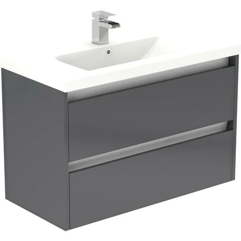 City Grey Gloss 800mm Wall Mounted 2 Drawer Vanity Unit Including Basin