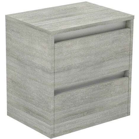 City Molina Ash 500mm Wall Mounted 2 Drawer Vanity Unit With Top