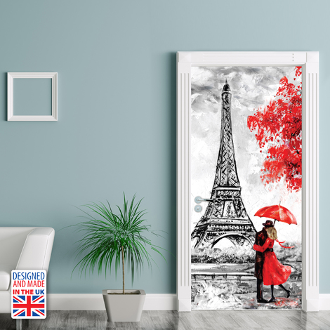 City Of Love Self-Adhesive Door Mural Sticker For All Europe Size 90Cm X 200Cm
