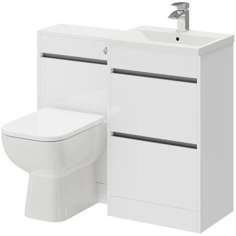 City White Gloss 1000mm 2 Drawer Vanity Unit Toilet Suite