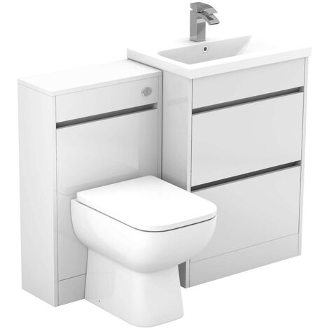 City White Gloss 1100mm 2 Drawer Vanity Unit Toilet Suite