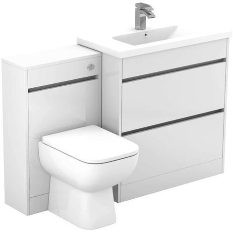 City White Gloss 1300mm 2 Drawer Vanity Unit Toilet Suite