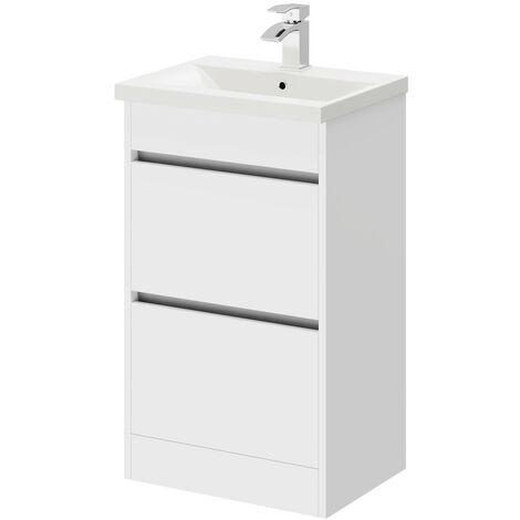 City White Gloss 500mm 2 Drawer Vanity Unit Including Basin