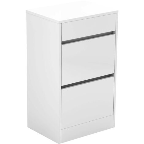 City White Gloss 500mm 2 Drawer Vanity Unit With Top