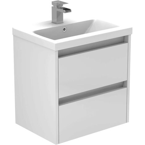 City White Gloss 500mm Wall Mounted 2 Drawer Vanity Unit Including Basin