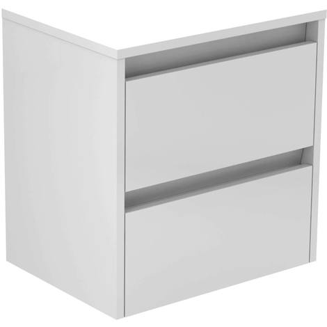 City White Gloss 500mm Wall Mounted 2 Drawer Vanity Unit With Top
