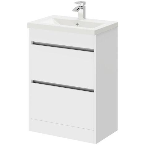 City White Gloss 600mm 2 Drawer Vanity Unit Including Basin