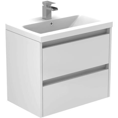 City White Gloss 600mm Wall Mounted 2 Drawer Vanity Unit Including Basin