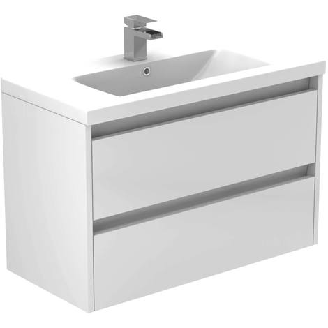 City White Gloss 800mm Wall Mounted 2 Drawer Vanity Unit Including Basin