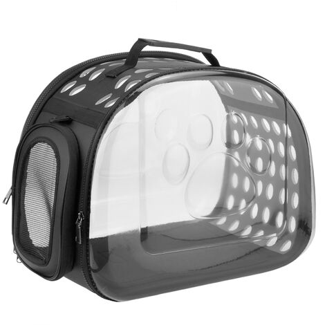 CityBAG - Maleta para transporte de mascotas gato y perro. Transportin de plástico transparente 30x44x35 cm