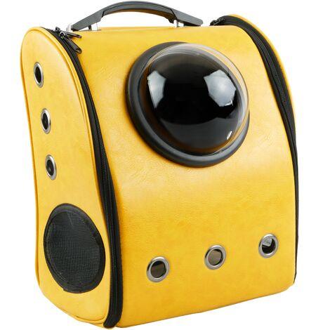 CityBAG - Mochila para transporte de mascotas gato y perro Transportin de imitación piel amarillo