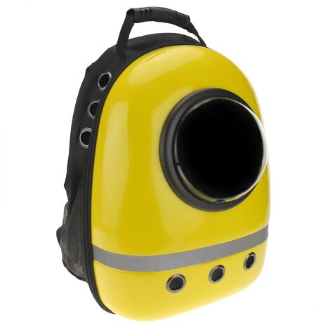 CityBAG - Mochila para transporte de mascotas gato y perro. Transportin de plástico rígido amarillo