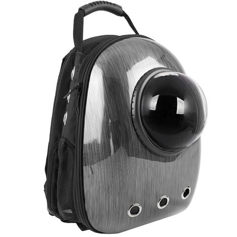 CityBAG - Mochila para transporte de mascotas gato y perro Transportin de plástico rígido gris