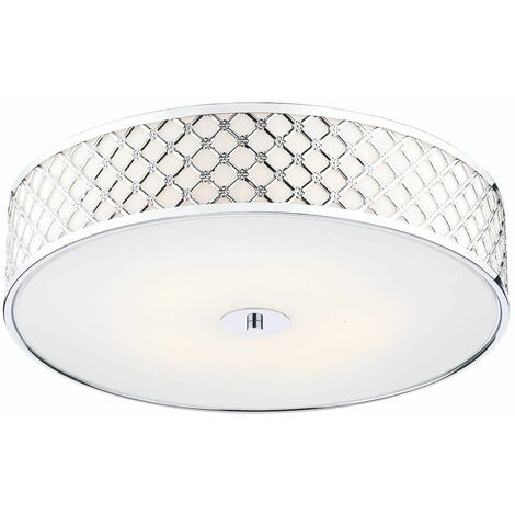 Civic Ceiling Light Polished Chrome & White Faceted Glass 2-Light