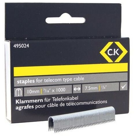 CK 495024 Telecom cable staples 4.5mm wide x 10mm deep Box Of 1000