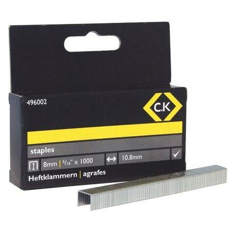 CK 496002 Staples 10.5mm wide x 8mm deep Box Of 1000