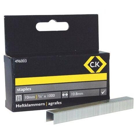 CK 496003 Staples 10.5mm wide x 10mm deep Box Of 1000