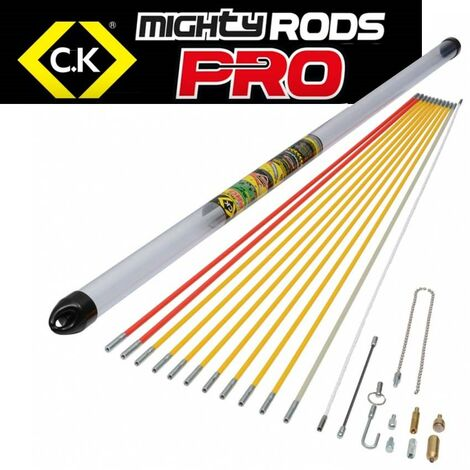 C.K Tools MightyRod PRO Cable Rod Super Set 12m Cable Pull Rods Router T5422