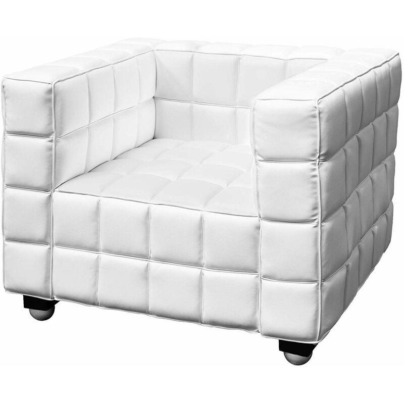 CKADRAT - Prestigioso divano poltrona classico in pelle fino a 3 posti per casa ufficio [Colore - Bianco, N. posti - 1] - EGLEMTEK