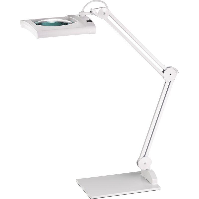 Ruko - Éclairage à loupe à LED lunette 190,5 mm (7,5 po.) avec cache, tête rectangulaire blanc avec pied