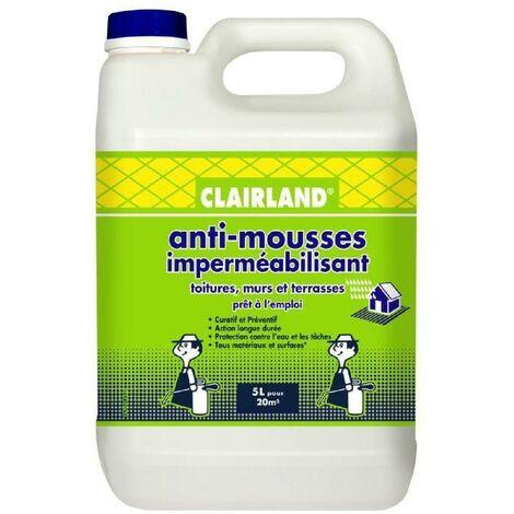 CLAIRLAND Anti-Mousses et imperméabilisant sur toitures. terrasses et dallages - Solution prete a l'emploi pour pulvérisateur - 5 L