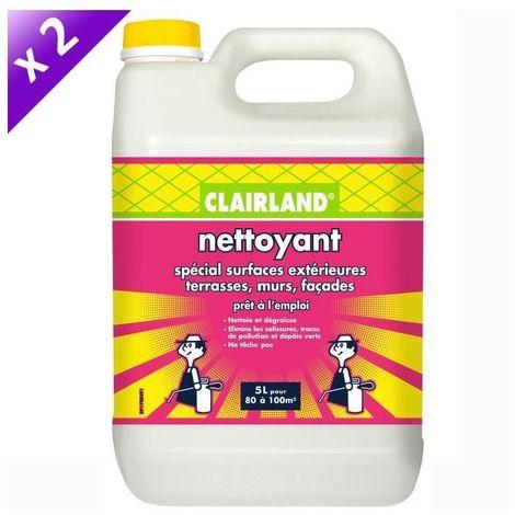 CLAIRLAND Lot de 2 Nettoyant spécial surfaces extérieures terrasses, murs et façades - Prete a l'emploi pour pulvérisateur - 5 L