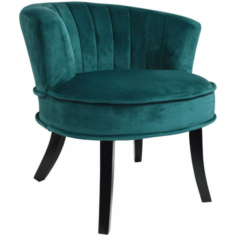CLAM - Designer Curved Shell Back Accent Occasional Chair - Green / Blue