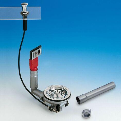 Clapet automatique avec poignée chromé pour éviers en acier inoxydable LIRA 1755TPR
