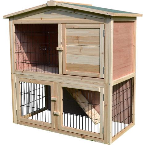 Clapier à lapin cage à lapin 2 étages 4 portes verrouillables rampe toit bitûmé bois de sapin