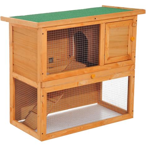 Clapier à lapin cage à lapin 2 étages plateau coulissant rampe et toit ouvrant 90L x 45l x 80H cm