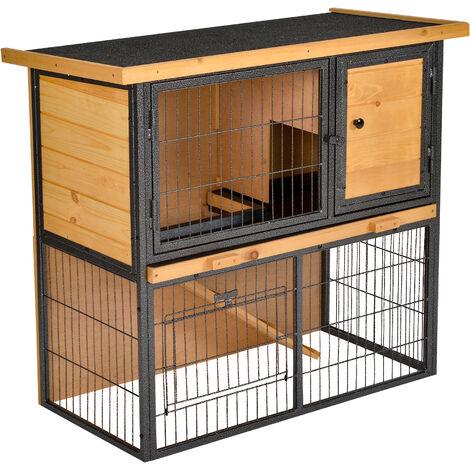 Clapier à lapin cage à lapin 2 niveaux 3 portes verrouillables rampe toit ouvrant bitûmé métal époxy pin pré-huilé