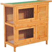 Clapier à lapin cage à lapin double niveau plateaux coulissants 4 portes verrouillables toit ouvrant 90L x 45l x 90H cm