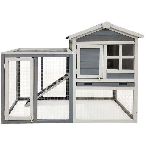 Clapier à lapin Espace extérieur Grand abri Bois d'épicéa Cage rongeurs en gris