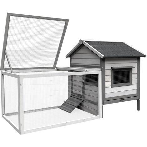 Clapier à lapin gris clair avec maison de rongeur et roue libre, 146x75x83cm, en bois