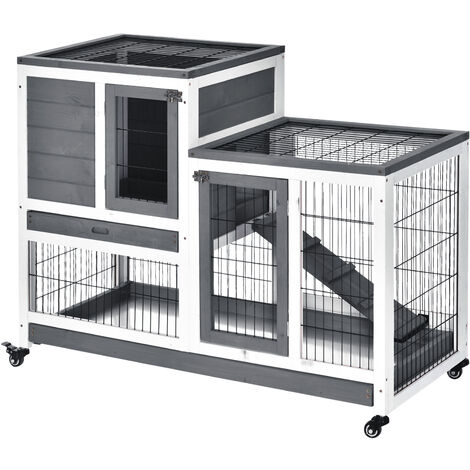 """main image of """"Clapier à lapin sur roulettes cage à lapin 2 étages 2 portes verrouillables 2 plateaux coulissants rampe bois de sapin gris blanc"""""""