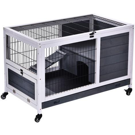 """main image of """"Clapier à lapin sur roulettes cage à lapin 2 étages porte verrouillable toit ouvrant plateau coulissant rampe bois de sapin gris blanc"""""""