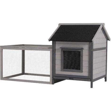 Clapier cage à lapin cottage - niche avec rampe, porte, fenêtres, plateau excrément amovible - toit enclos ouvrant - bois sapin gris