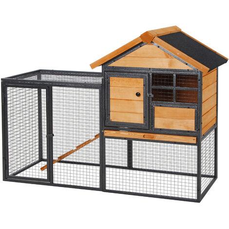 Clapier cage à lapins cottage - niche supérieure avec rampe et enclos extérieur - plateau excrément, fenêtre, 2 portes verrouillables - métal époxy pin pré-huilé