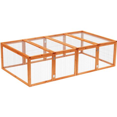 Clapier cage à lapins extérieur intérieur pliable 2 portes supérieures 181L x 100l x 48H cm bois massif pin
