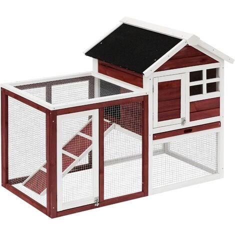 Clapier cage à lapins multi-équipé : niche supérieure avec rampe, plateau excrément, fenêtre + enclos extérieur sécurisé 2 portes 122L x 63l x 92H cm rouge brique