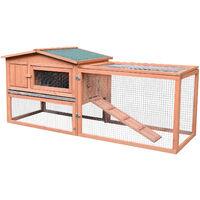 Clapier cage à lapins rongeurs 2 étages tiroir déjection enclos extérieur amovible toit ouvrant 158L x 58l x 68H cm bois massif pin