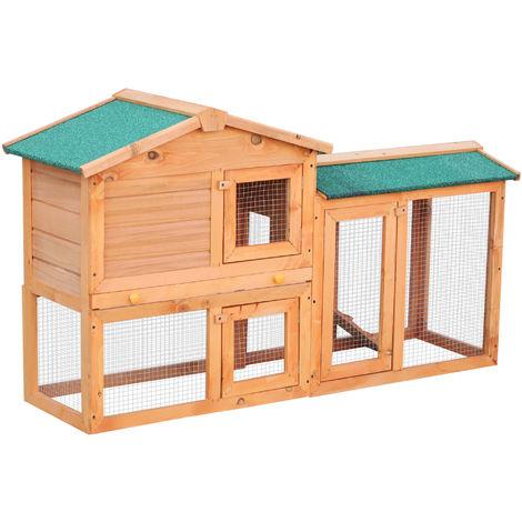 Clapier cage à lapins rongeurs 2 niveaux 3 portes verrouillables tiroir à déjection 145L x 45l x 85H cm bois massif pin