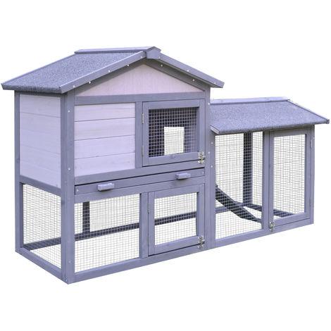 Clapier cage à lapins rongeurs 2 niveaux 3 portes verrouillables tiroir à déjection toit intégral bitumé 147L x 54l x 84H cm bois massif pin gris blanc