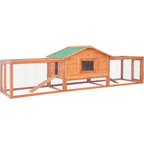 Clapier cage à lapins rongeurs XXL étage toit bitumé tiroir déjection 3,09L x 0,79l x 0,86H m bois massif pin pré-huilé