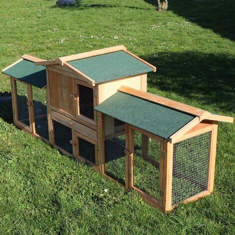 Clapier de lapin Cage Cochons dinde XXL Enclos ext�rieur Rongeurs Animaux domestiques Bois