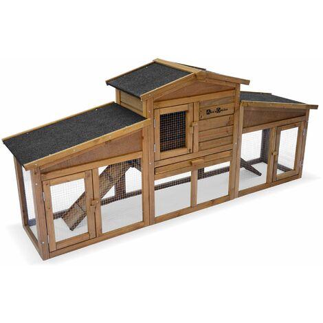 Clapier en bois ANGORA pour lapin et rongeurs, 4 lapins, cage à lapin avec enclos, espace intérieur et extérieur, poulailler