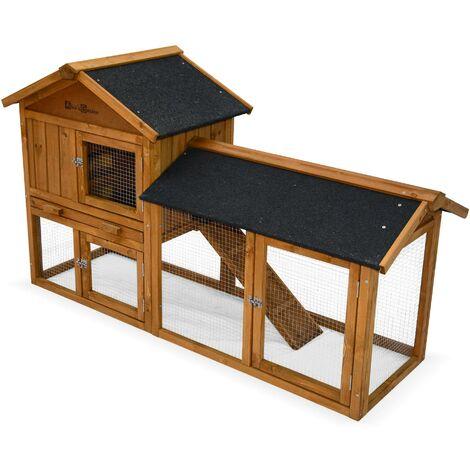 Clapier en bois HOTOT pour lapin et autres rongeurs, 4 lapins, cage à lapin avec enclos, espace intérieur et extérieur, poulailler