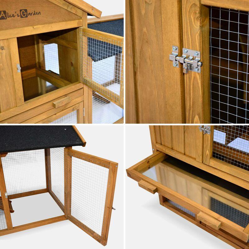 97cd200b3aff74 Clapier en bois HOTOT pour lapin et rongeurs, 4 lapins, cage à lapin avec  enclos, espace intérieur et extérieur, poulailler - RBH2047LBN