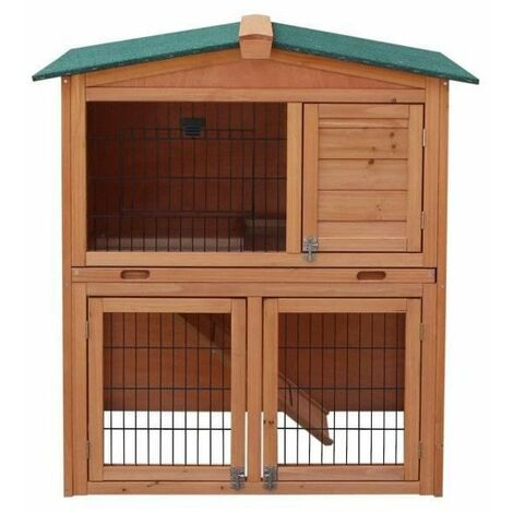 Clapier en bois pour lapin Jeanot 90x54,5x99,6 cm - Pour lapin