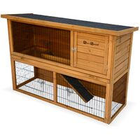 Clapier en bois REX pour lapin et autres rongeurs, 4 lapins, cage à lapin avec enclos, espace intérieur / extérieur